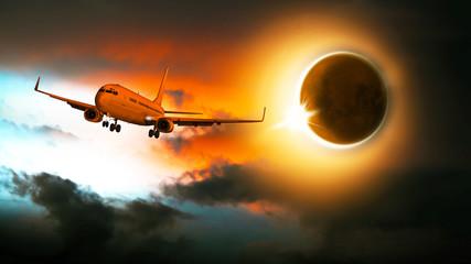 Sonnenfinsternis, Passagierflugzeug am Himmel