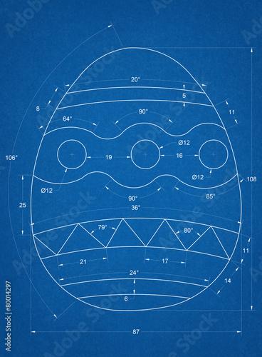 Zdjęcia na płótnie, fototapety, obrazy : Easter Egg Blueprint