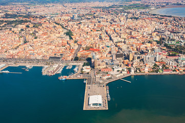 Aerial view of the port of Cagliari and the city