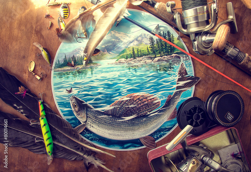 Illustration about fishing, surrounded by fishing accessories. - 80014661