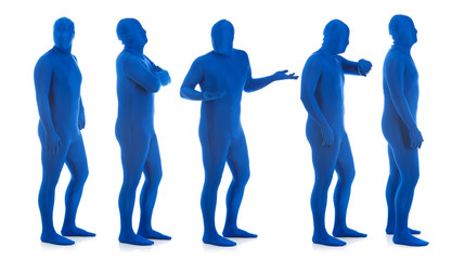 Blue: Group of Blue Men in Line