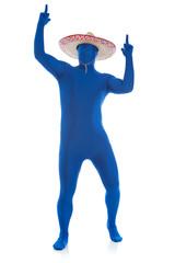 Blue: Mexcian Man Dances Around with Guns in the Air