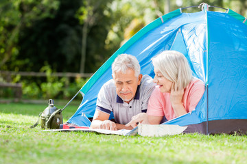 Senior Couple Discussing Over Map At Campsite