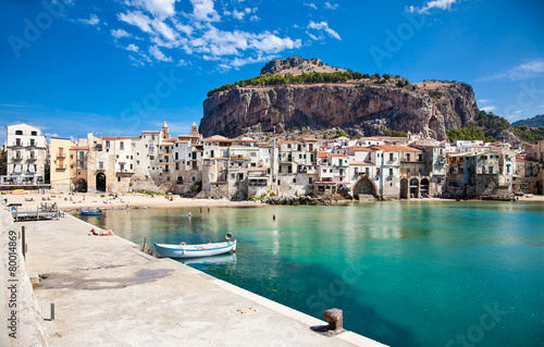 Beautiful old harbor with wooden fishing boat in Cefalu, Sicily - 80014869