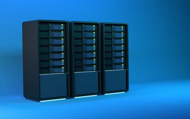 3d servers 3 blue