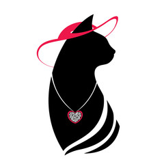 Silhouette of the head cat in the red hat