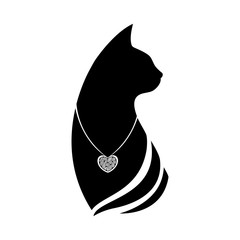 Silhouette of a cat head with a pendant around the neck