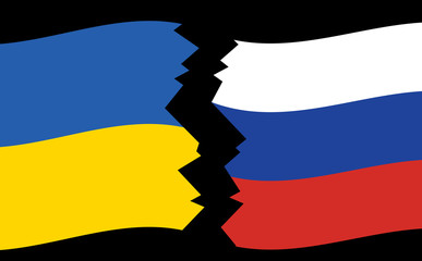 flags of Ukraine and Russia - crack - vector