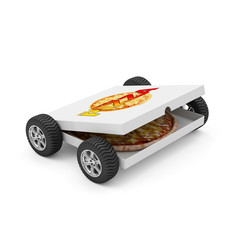 Fast Delivery Concept. Pizza Box with Pizza Inside on Wheels