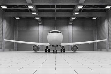 Modern Hangar 3D Interior with Modern Airplane Inside