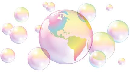 Planet Earth Soap Bubbles World