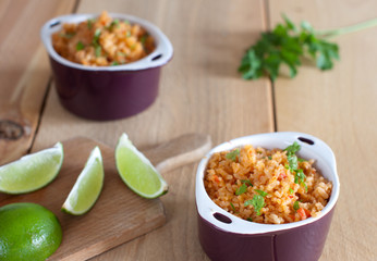 delicious mexican rice with lime