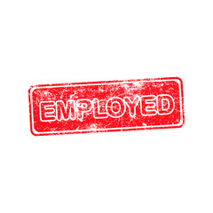 EMPLOYED red Rubber Stamp isolated on white background