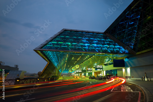 Taoyuan airport in taiwan at night - 80017854