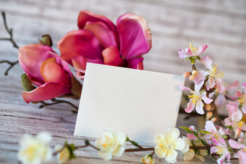 Blank Card with Yellow and Pink Blossoms