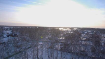 Beautiful scandinavian lapland winter aerial landscape