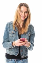 Glückliches Mädchen mit Handy