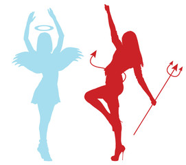 Silhouettes of an angel and demon froze in dance