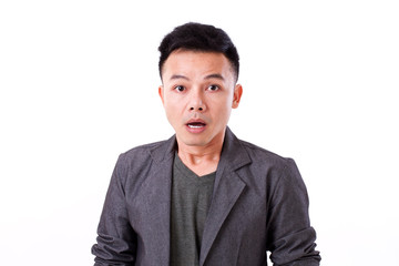 portrait of stunned, surprised man on white background