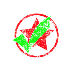 green check in red cycle with star grunge rubber stamp vector il