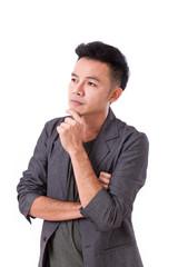 thoughtful man thinking on white background