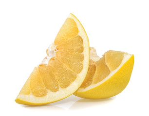 Pomelo or Chinese grapefruit slices isolated on the white backgr