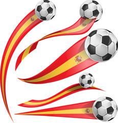 spain  flag set with soccer ball