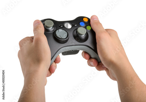 Male Hands Holding Gamepad isolated - 80020404