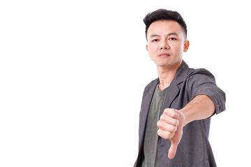 man giving thumb down,  looking at you or camera