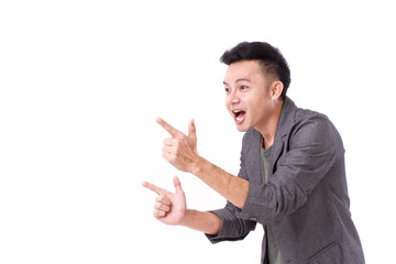 man pointing his two hands up to blank space