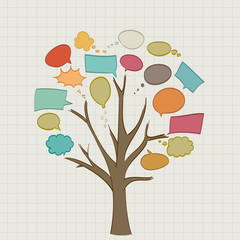 Tree with retro speech bubbles