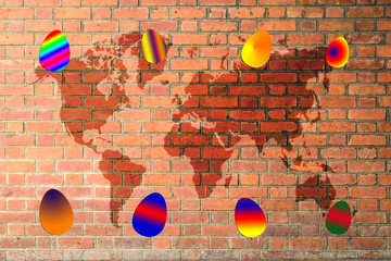 Colorful easter eggs on red brick wall texture with world map