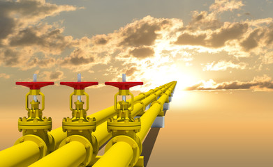Three industrial pipes for gas transmission