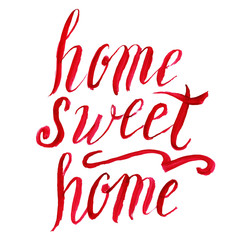 Home sweet home lettering, vector watercolor