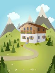 alpen haus berge idylle landschaft