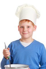 Boy in chef's hat with ladle and pan
