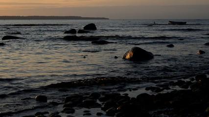 Shore of the Baltic Sea illuminated by the setting sun