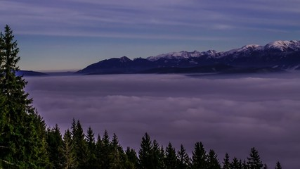 4k time lapse inversion clouds in mountains