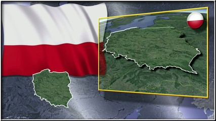 Poland flag and map animation FULL-HD