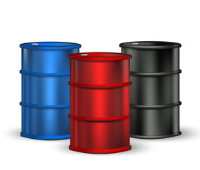 blue, red and black petrol barrel on white