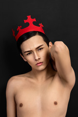 hot Little Prince posing in red crown