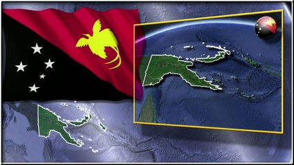 Papua New Guinea flag and map animation FULL-HD