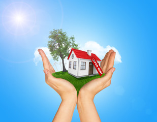 Hands holding house on green grass with label for rent, red roof