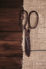 really antique iron scissors with spools