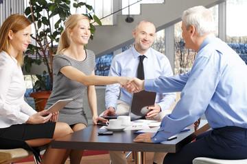 Handshake at meeting