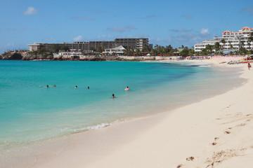 Hotels and beach on Caribbean Islands. Philipsburg, Saint-Martin