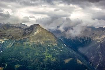 View over a mountainous landscape in Austria.