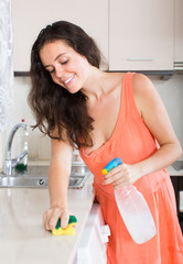 Housewife cleaning kitchen