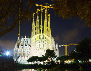 Sagrada Familia in night. Barcelona