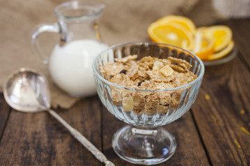 oat flakes with yogurt and orange